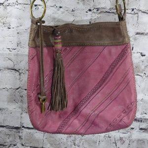 Fossil Raspberry Brown Leather Crossbody Bag